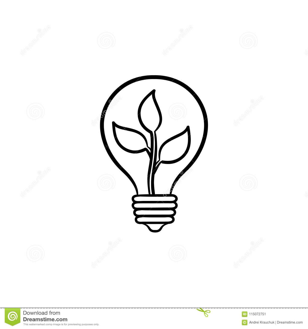 Ecology Energy Hand Drawn Sketch Icon Stock Vector