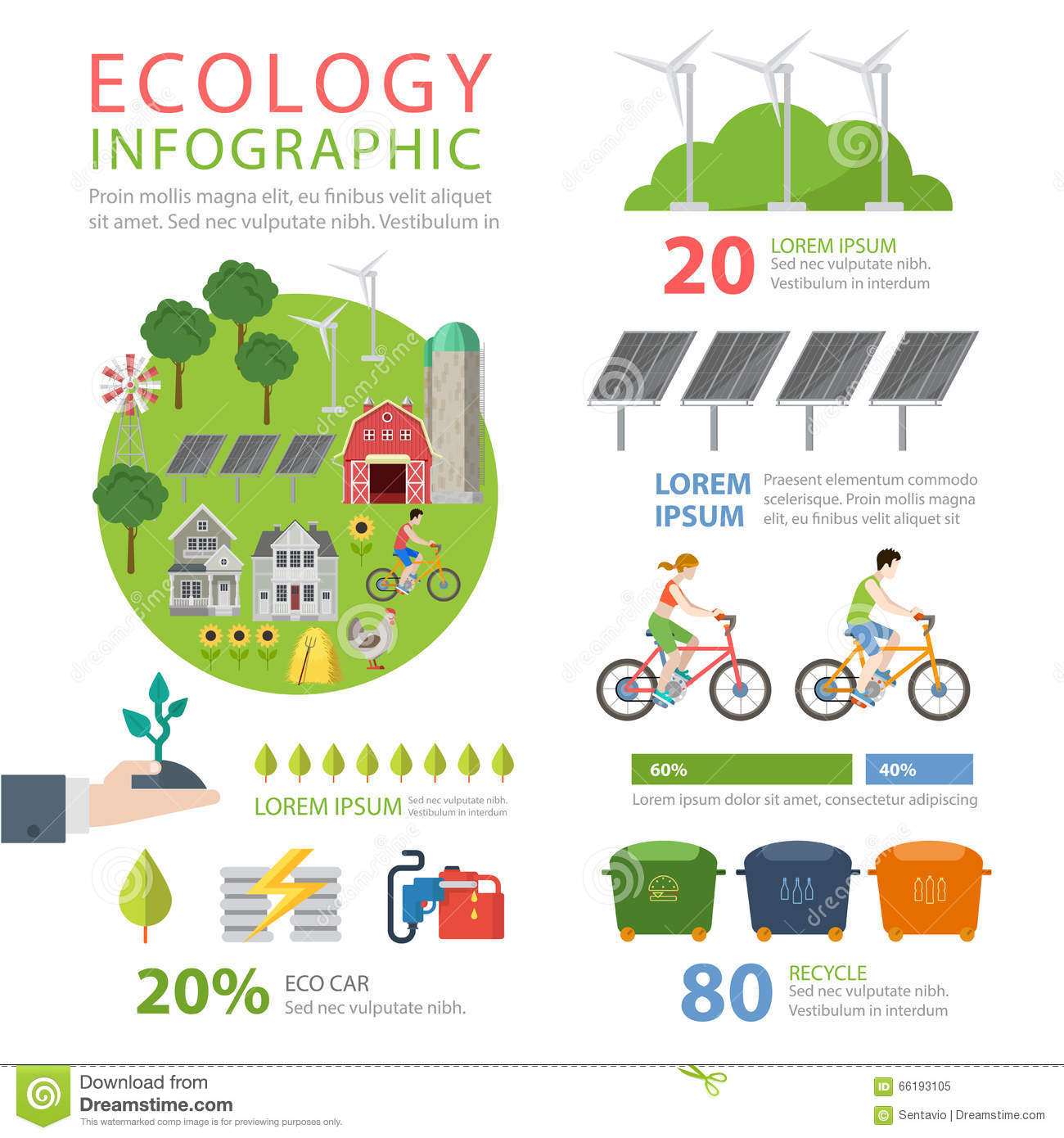Ecology Friendly Flat Vector Infographics Eco Food