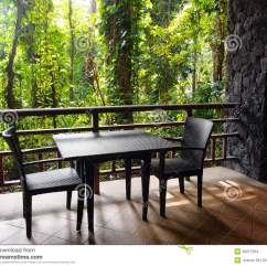 Rattan Arm Chair Swivel Lubrication Ecotourism Resort Patio With Natural Jungle View Stock Images - Image: 29217094