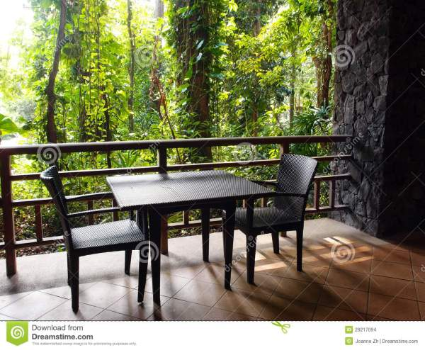 Ecotourism Resort Patio With Natural Jungle View Stock