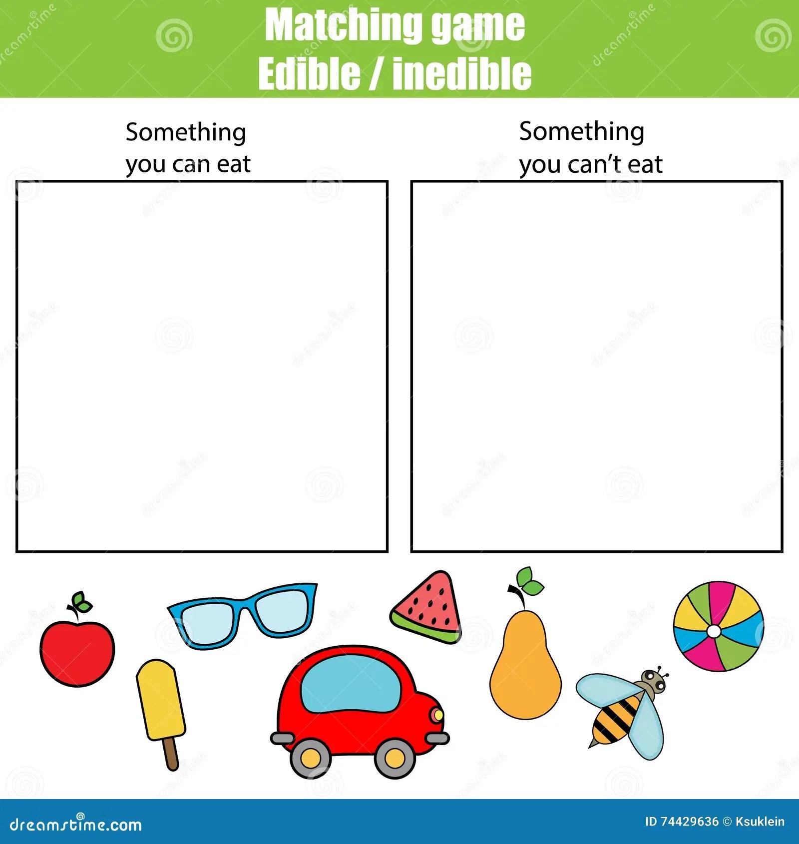 Edible Inedible Educational Children Game Kids Activity Sheet Stock Photo