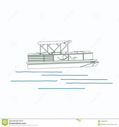 small resolution of editable pontoon boat vector illustration in outline style