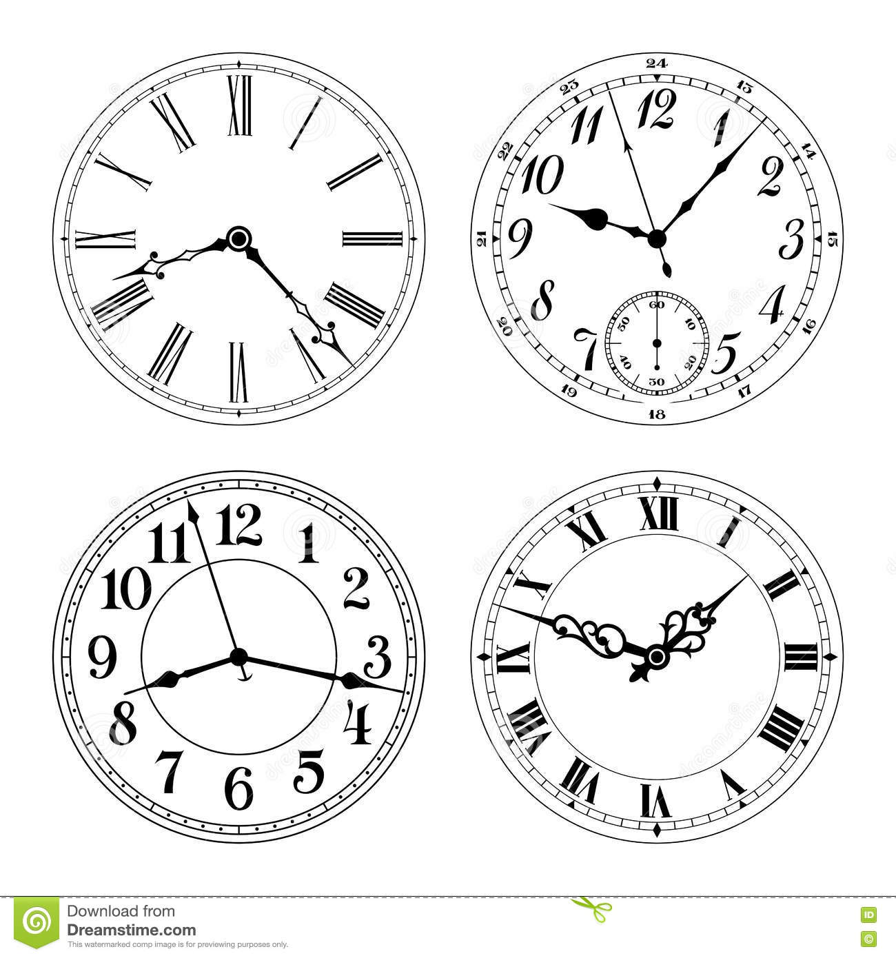 Editable Vector Clock Faces Arabic And Roman Numerals Stock Vector