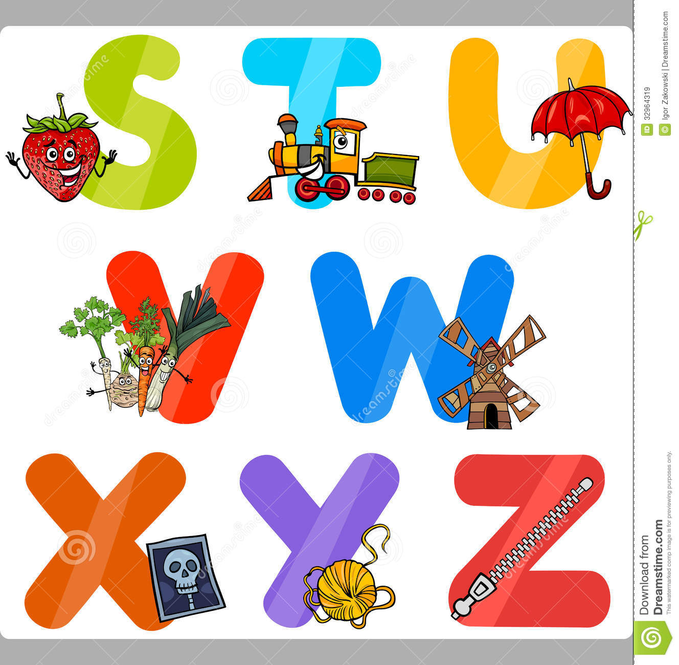 Education Cartoon Alphabet Letters For Kids Royalty Free