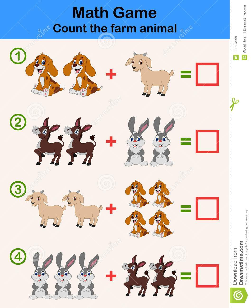 Education Counting Game Of Farm Animals For Preschool