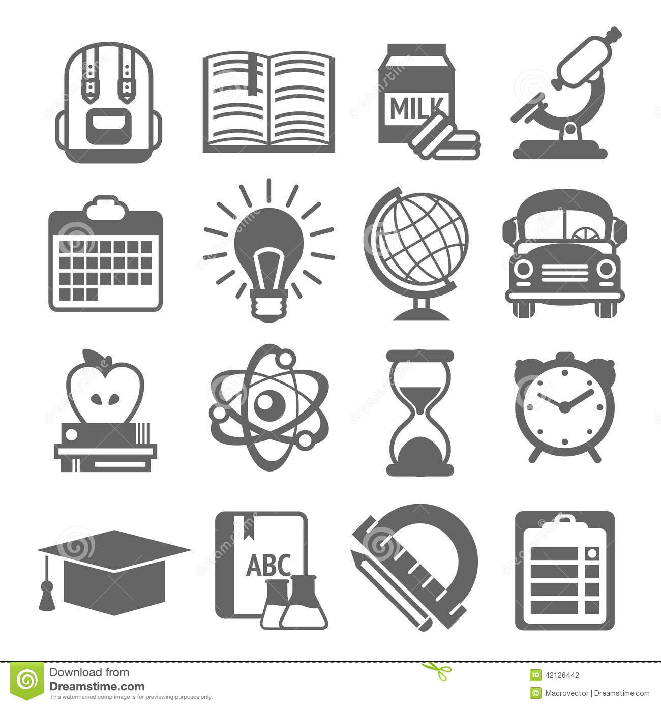 Education Icons Black And White Stock Vector