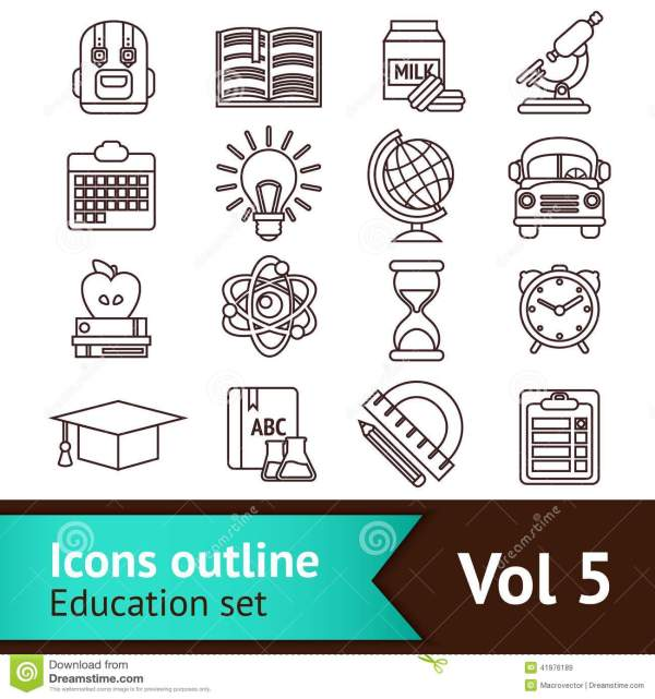 Education Icons Outline Stock Vector - 41976189