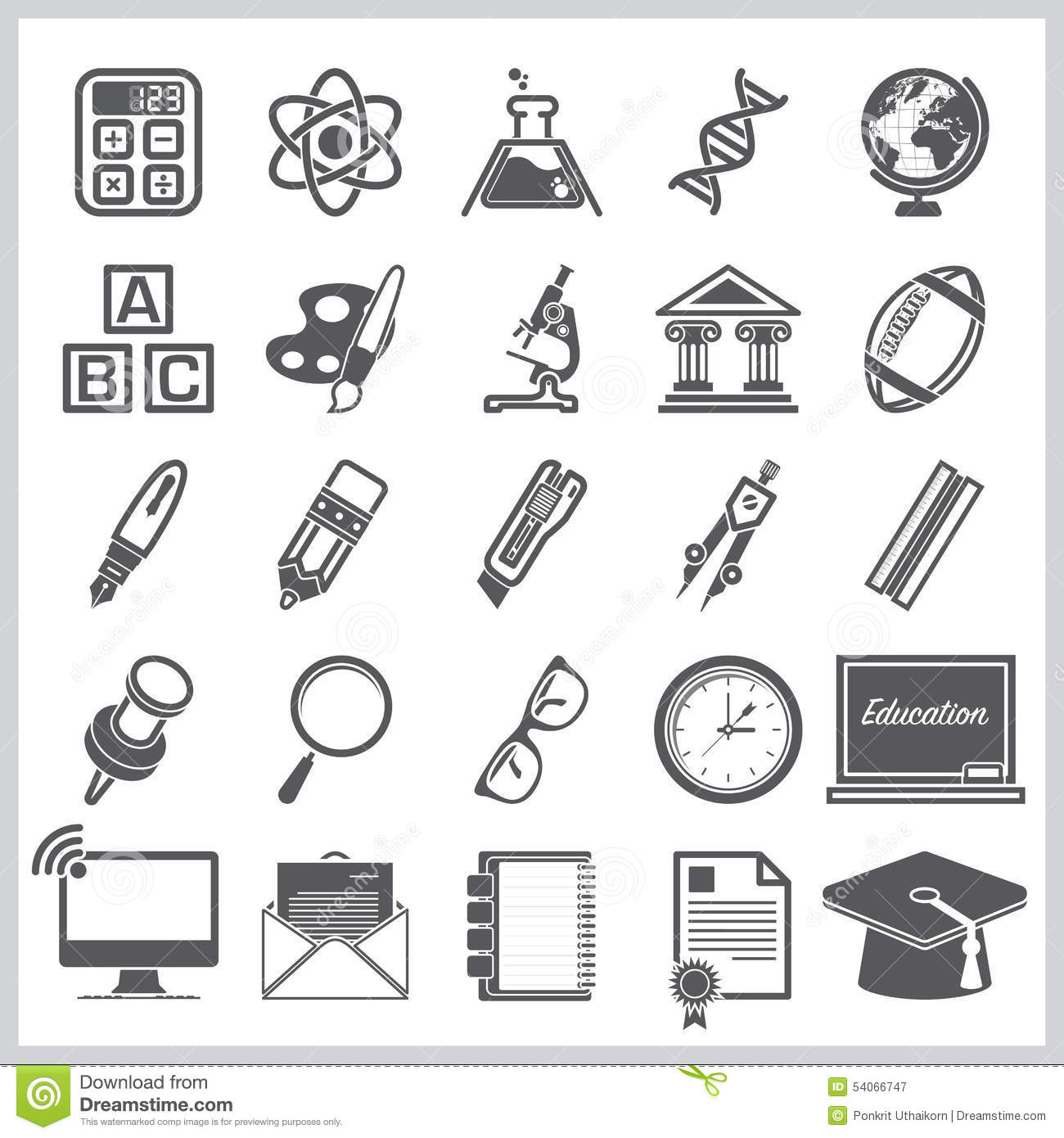Education And Learning Sign Symbol Icon Set Stock Vector