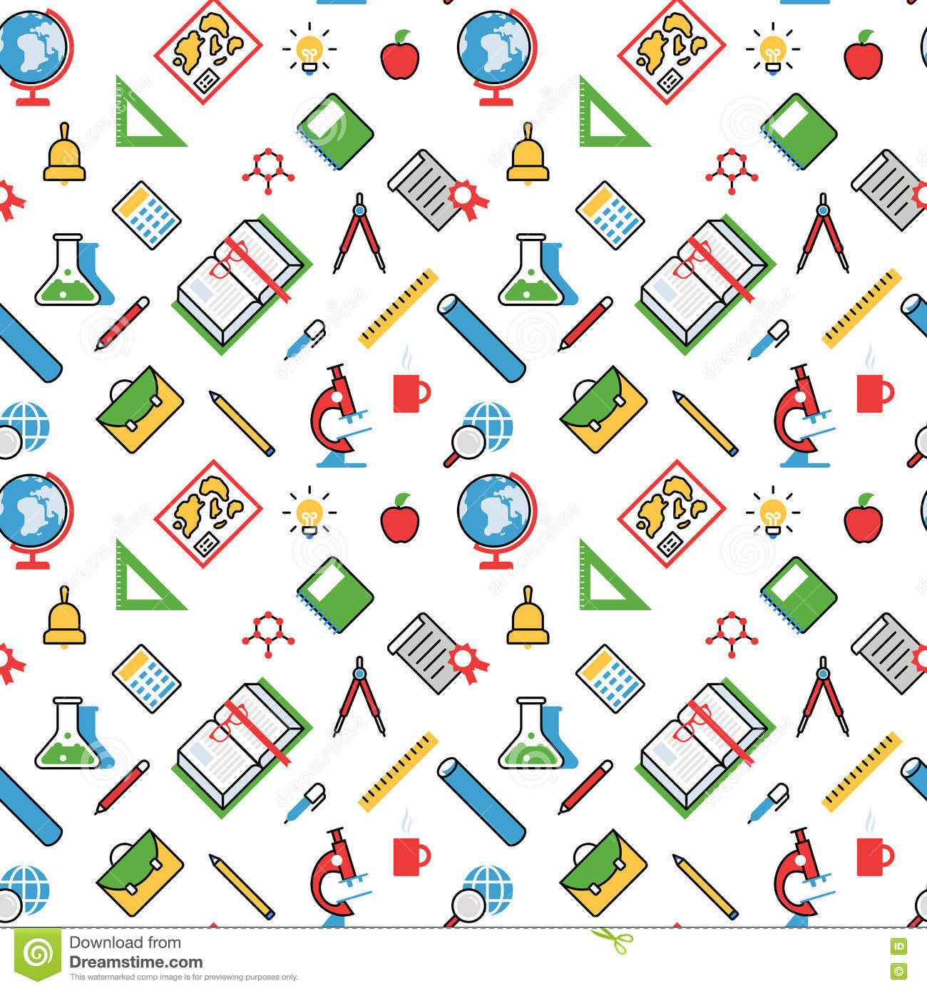 School Pattern Background With Objects Vector Illustration