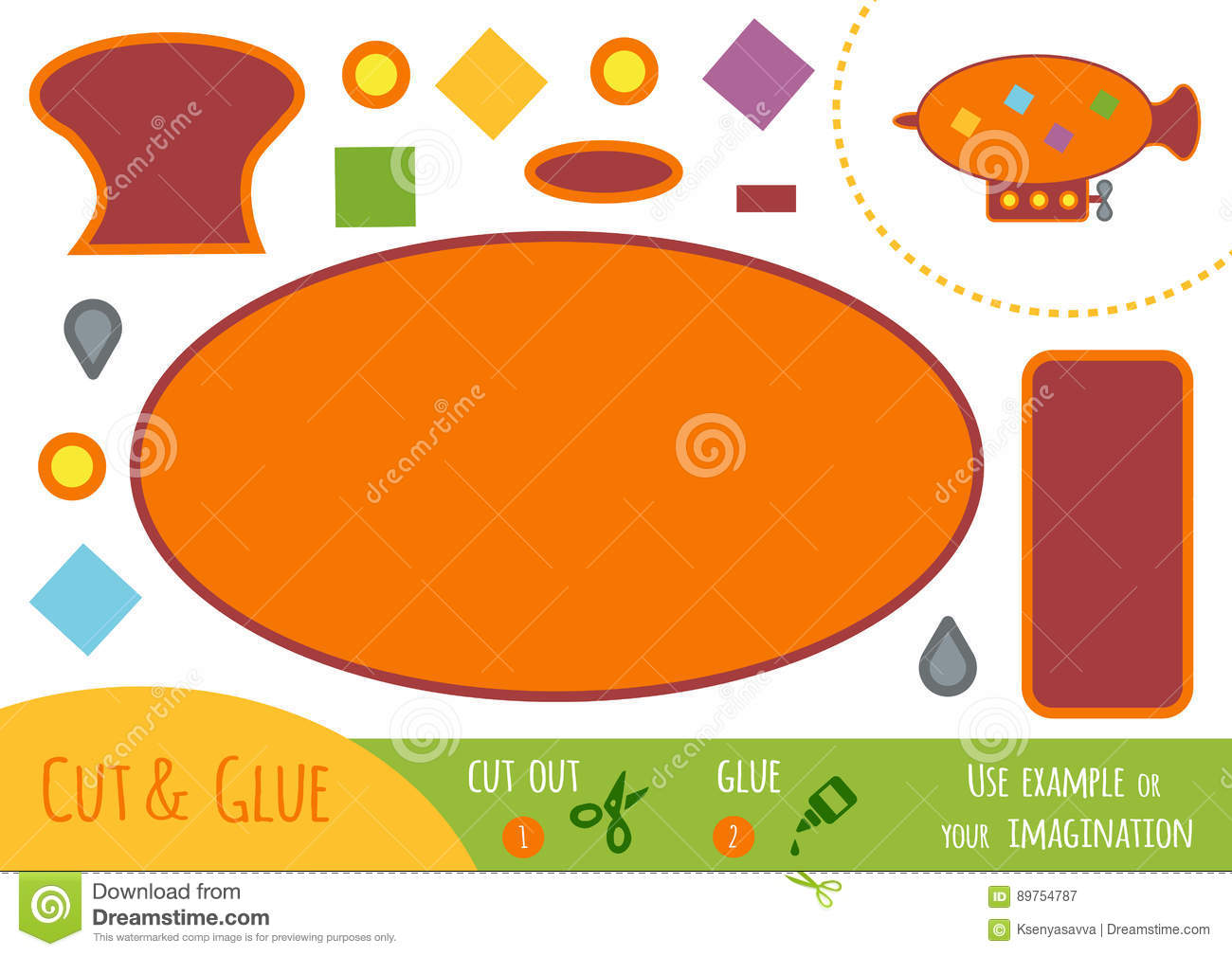 Education Paper Game For Children Airship Cartoon Vector