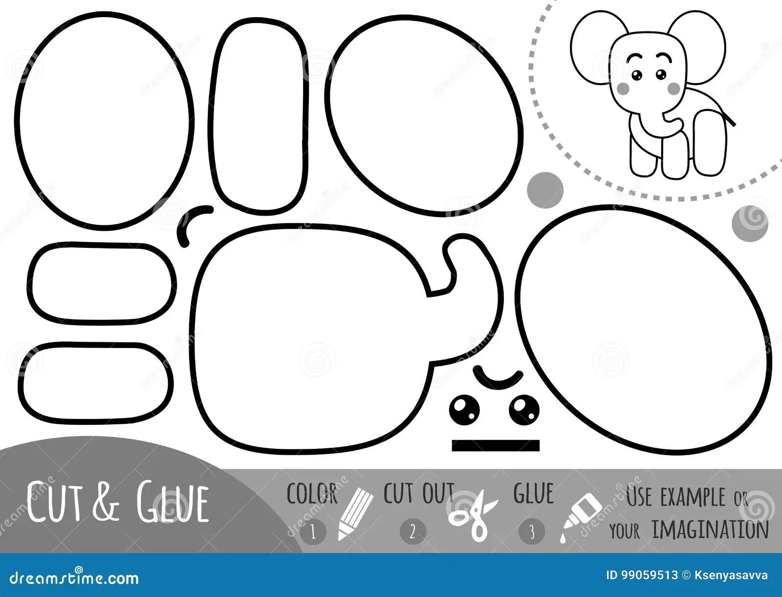 Education Paper Game For Children Elephant Stock Vector
