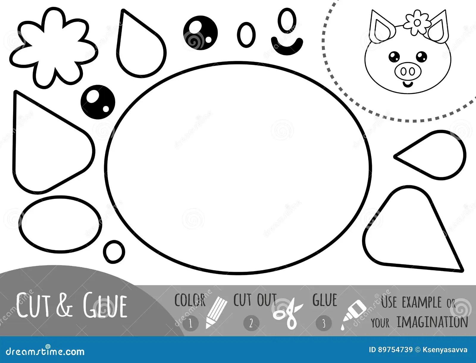 Education Paper Game For Children Pig Stock Vector