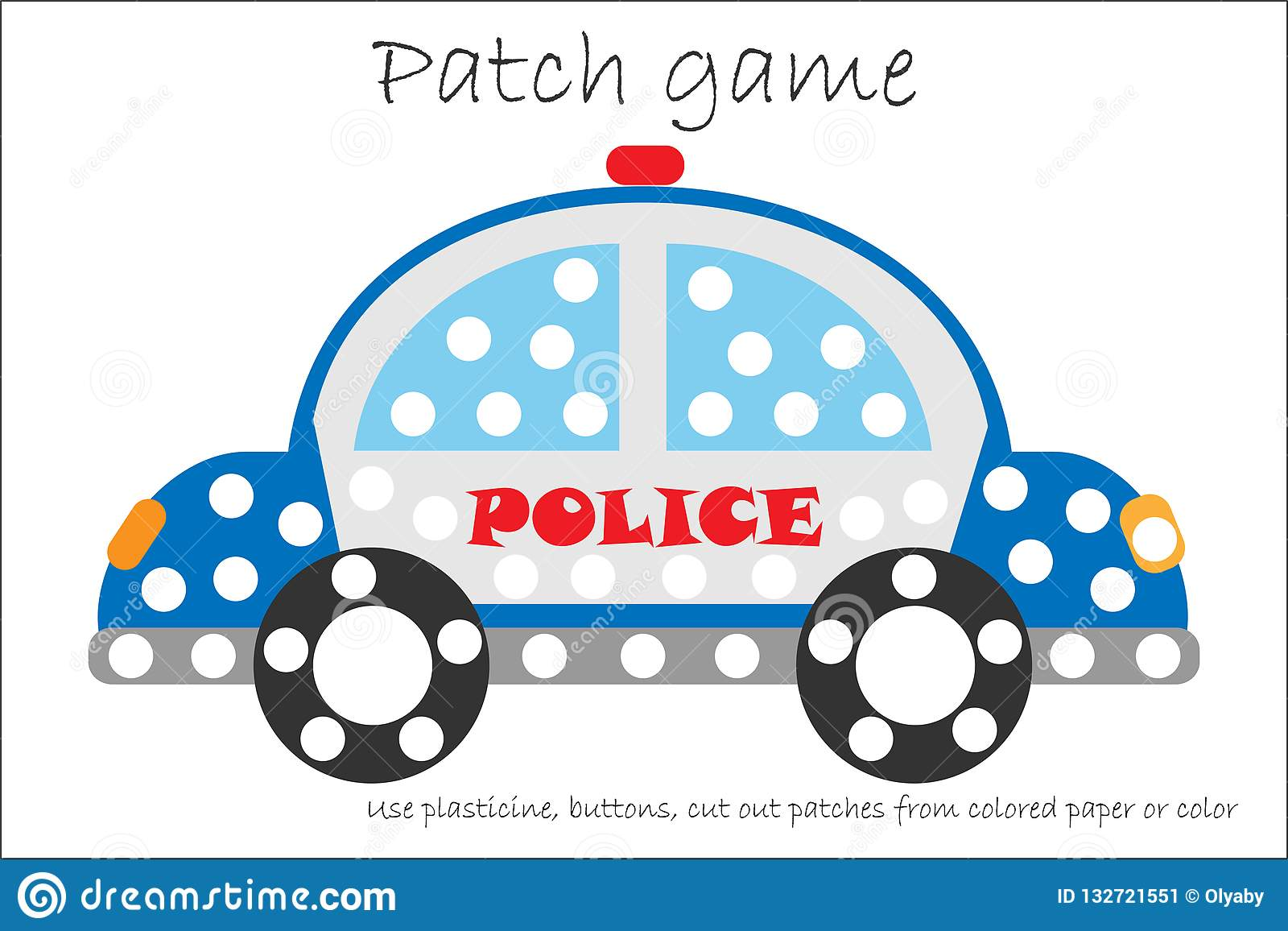 Education Patch Game Police Car For Children To Develop