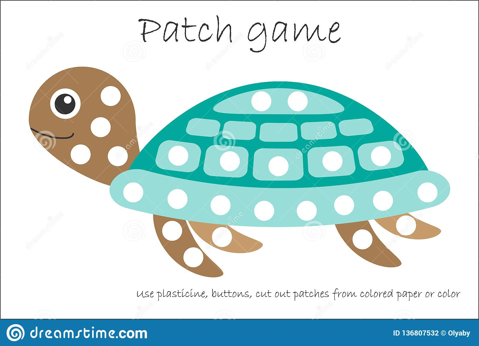 Education Patch Game Turtle For Children To Develop Motor