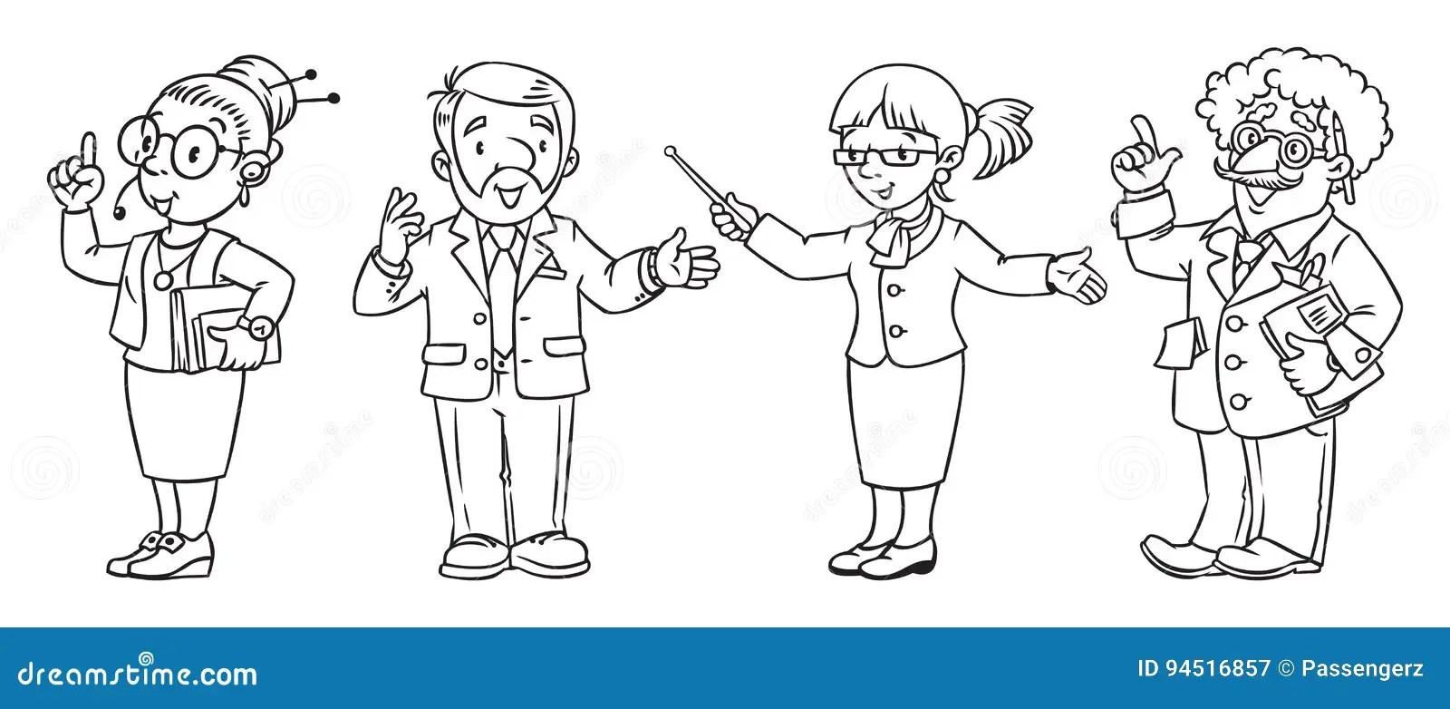 Education Professions Coloring Book. Cartoon Vector