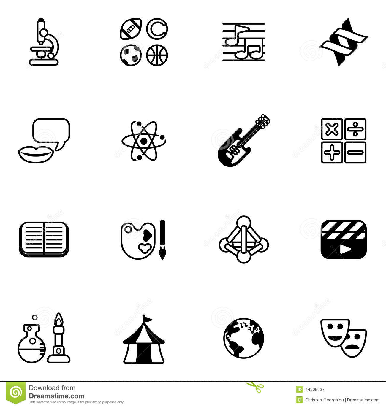 Education Or Quiz Subject Icons Stock Vector