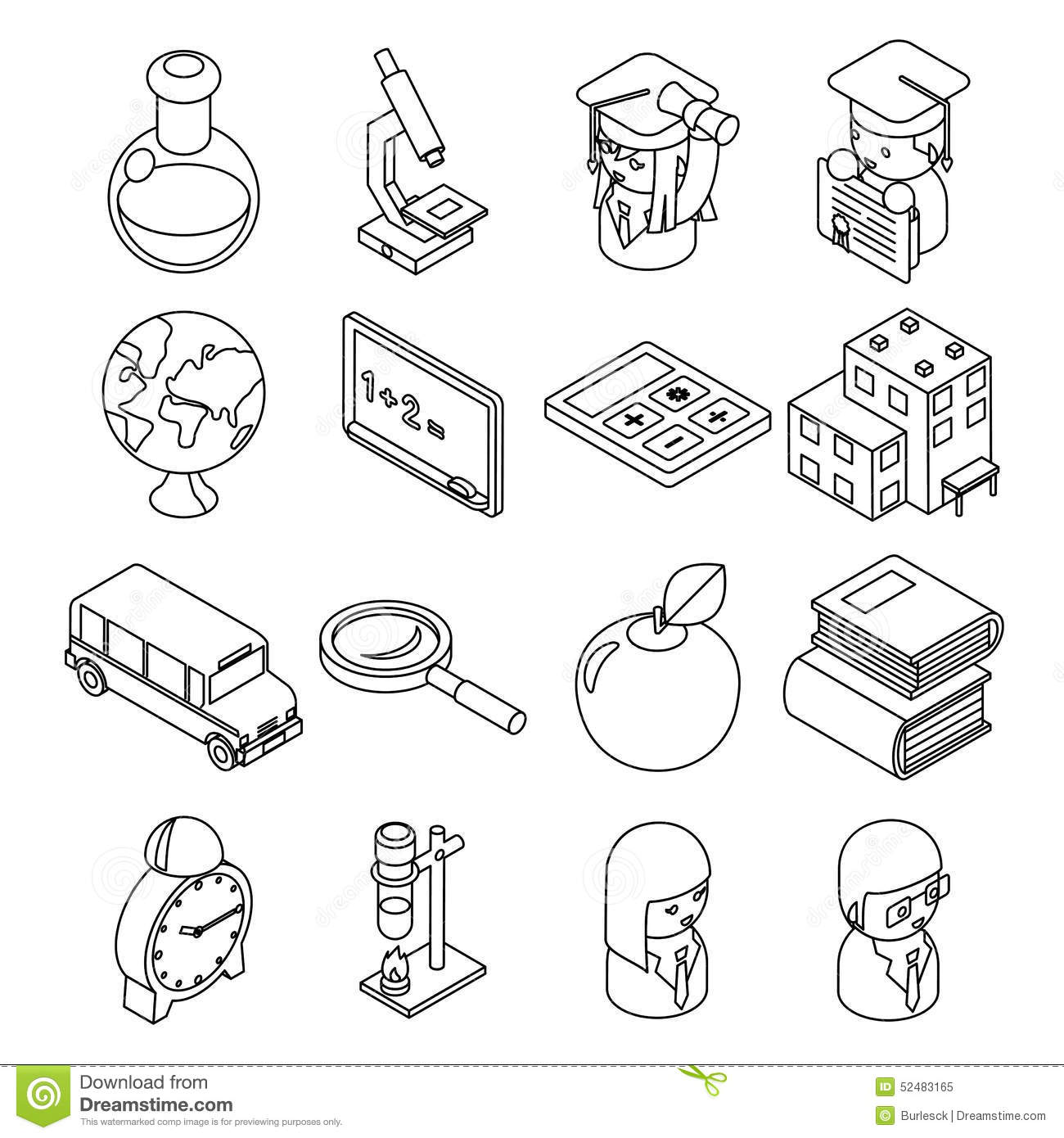 Education And School Isometric 3d Line Icons Stock Vector