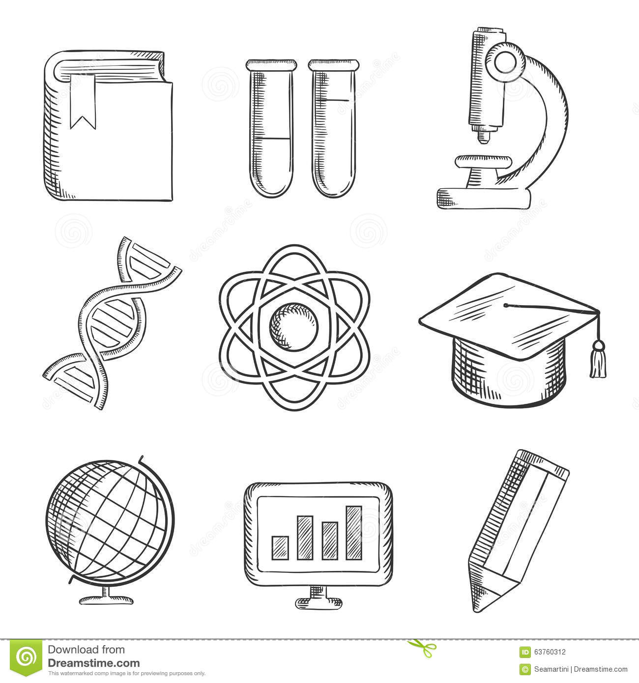 Education And Science Sketch Icons Stock Vector