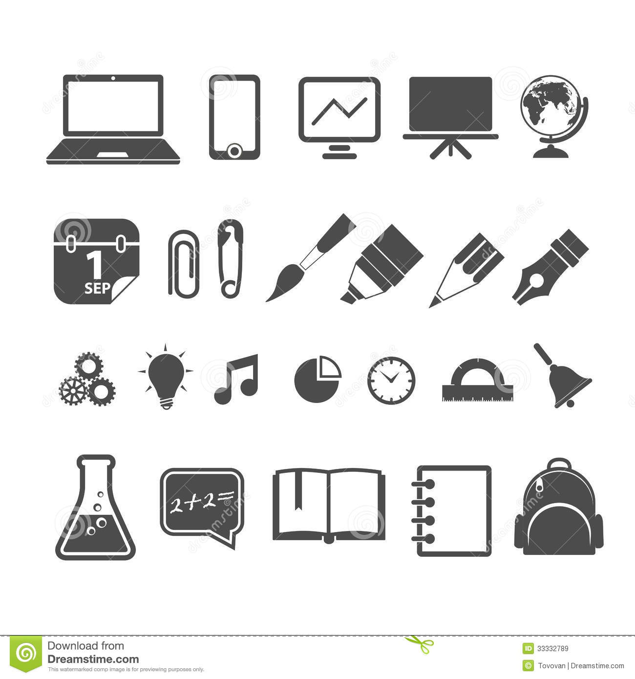 Education Silhouettes Collection Royalty Free Stock Images