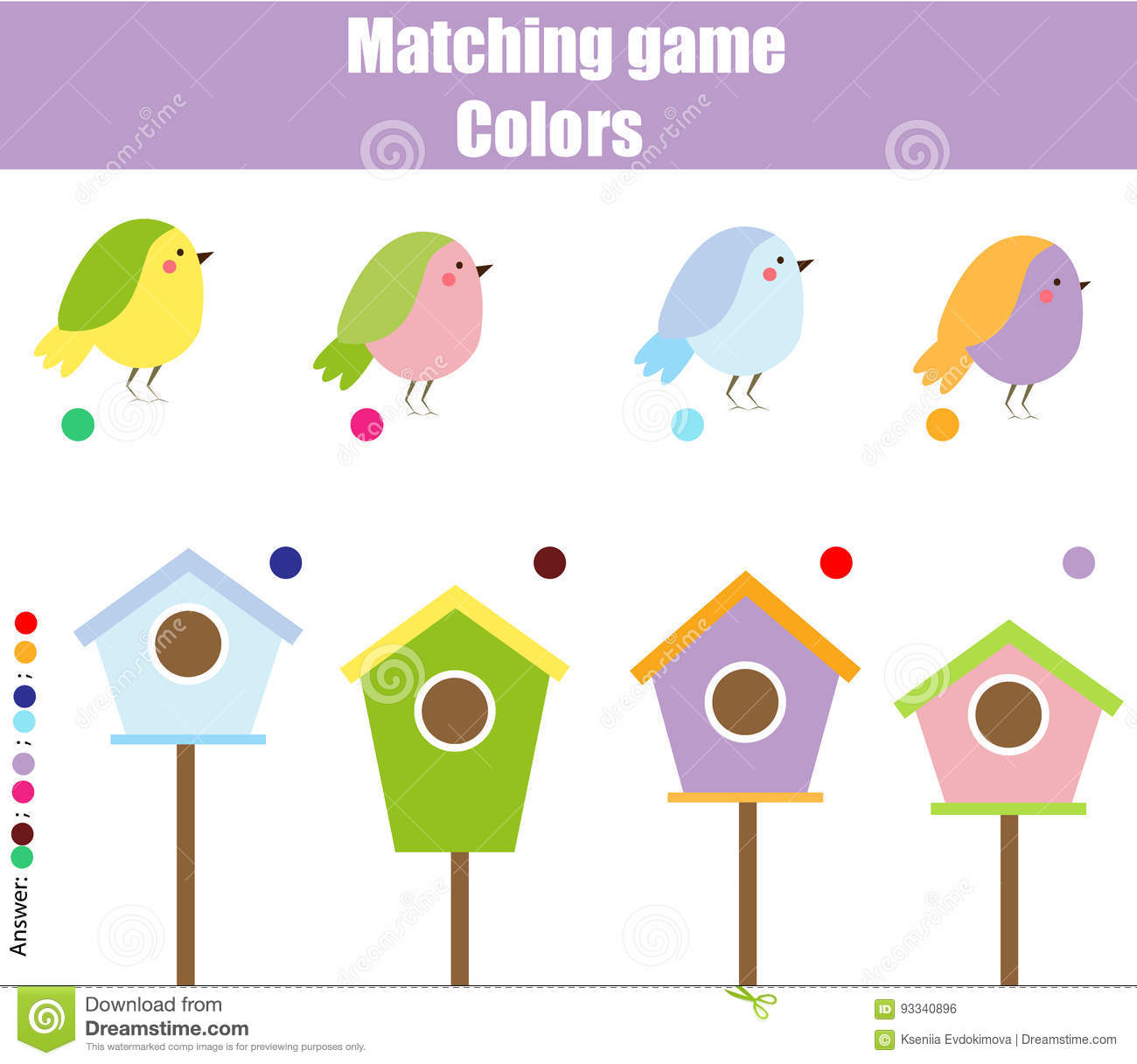 Educational Children Game Match By Color Find Pairs Of Birds And Birdhouse Stock Vector