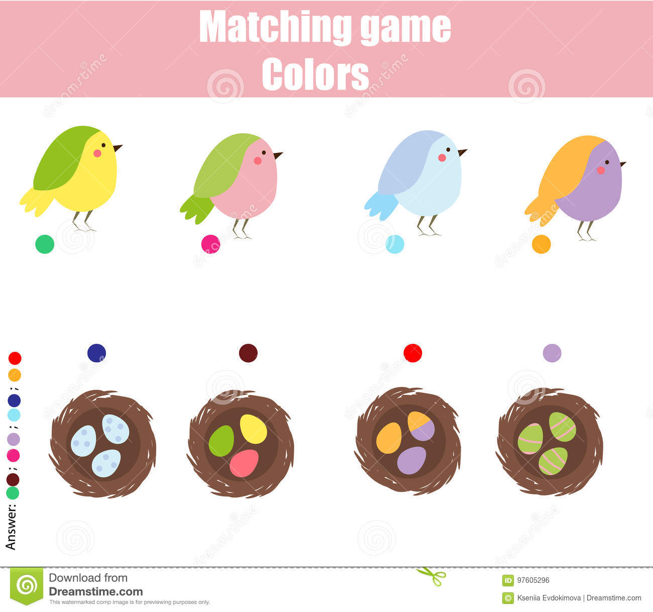 Educational Children Game Match By Color Find Pairs Of Birds And Nests Stock Vector