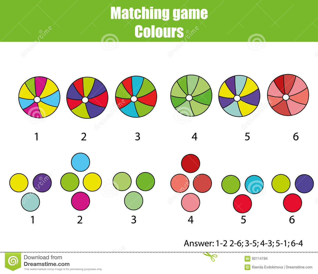 Educational Children Game Match By Color Stock Vector