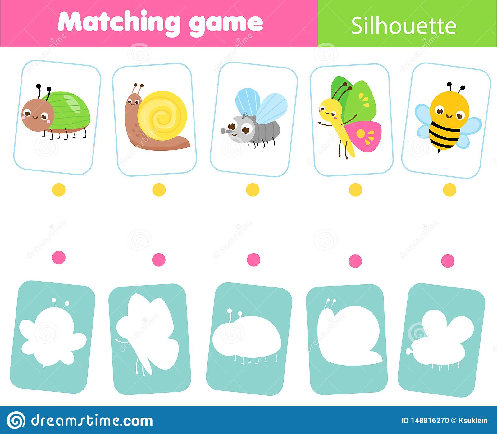 Educational Children Game Match Insects With Silhouette