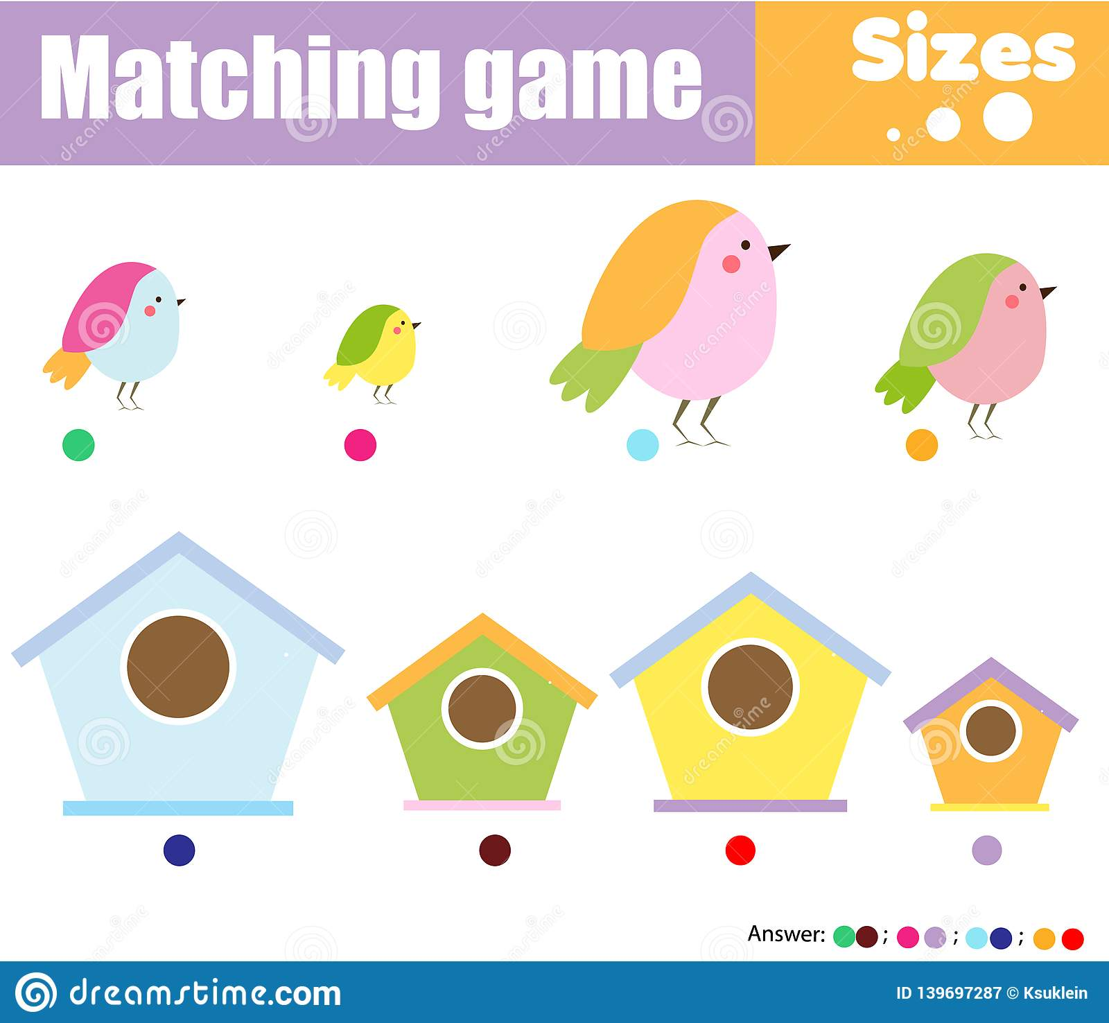 Educational Children Game Match By Size Learning
