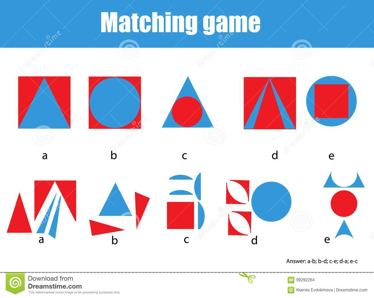 Educational Children Game Matching Game Worksheet For Kids Match By Shape Learning Whole And