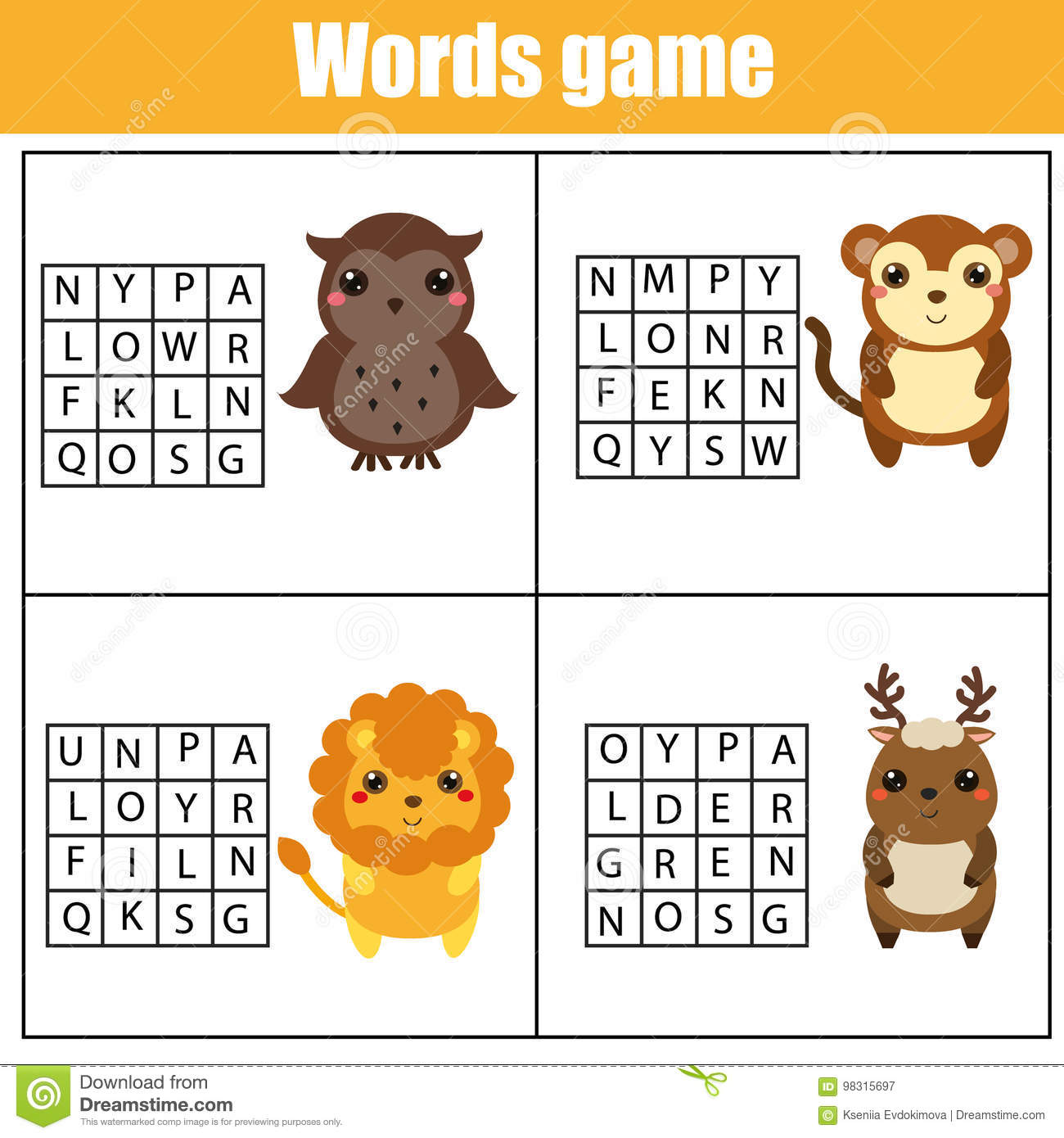 Educational Children Game Word Search Puzzle Kids