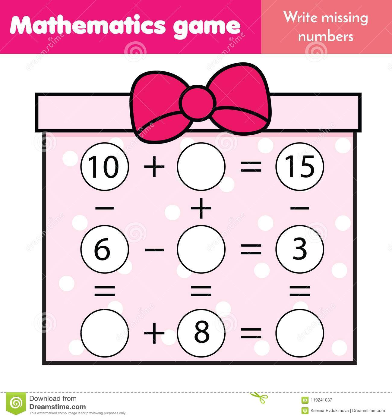 Educational Game For Children Complete Equations Study Subtraction And Addition Mathematics
