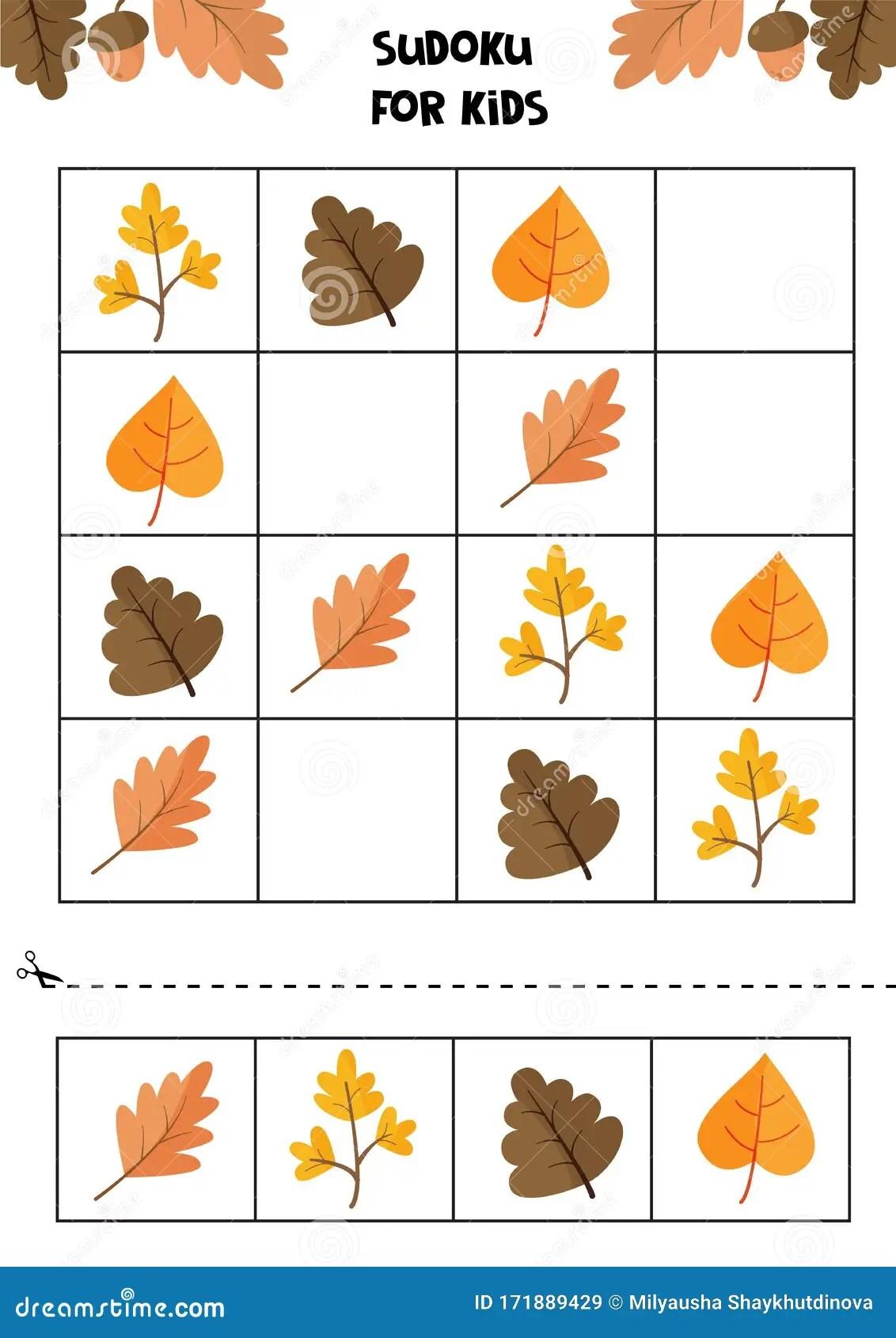 Educational Game For Children Sudoku For Kids Autumn