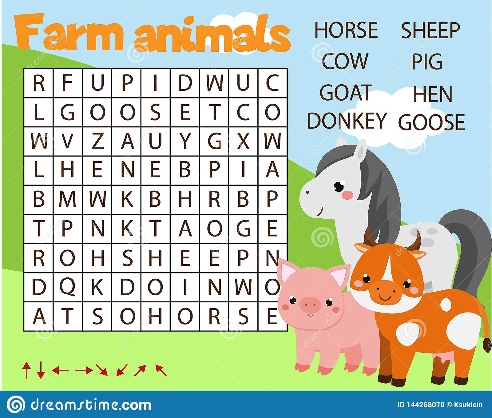 Educational Game For Children Word Search Puzzle Kids Activity Farm Animals Theme Learning