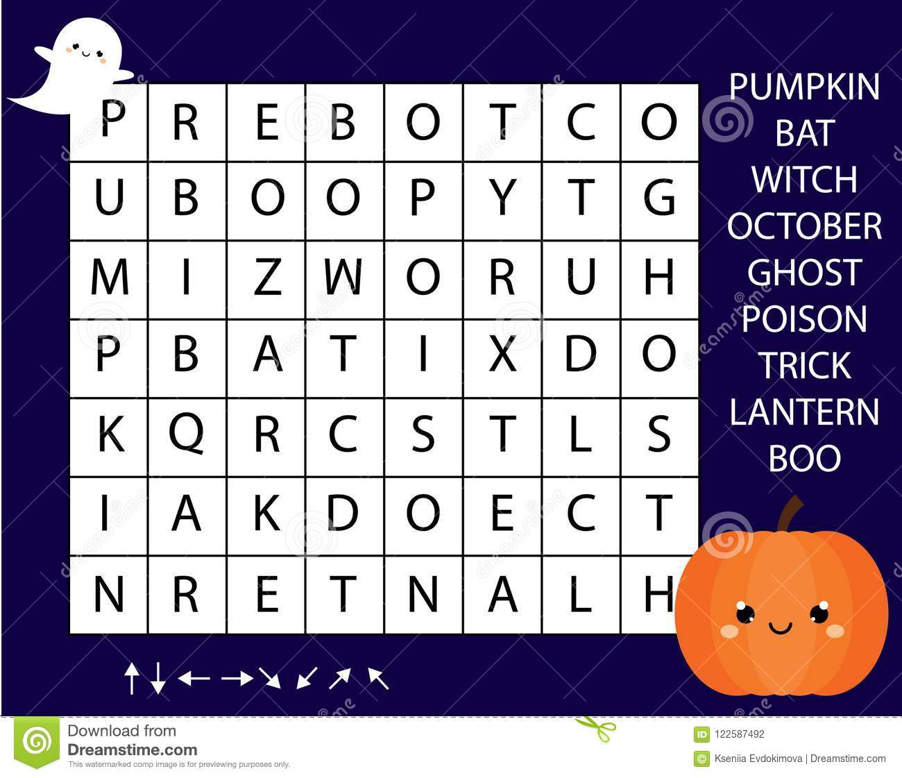 Educational Game For Children Word Search Puzzle Kids Activity Halloween Theme Learning