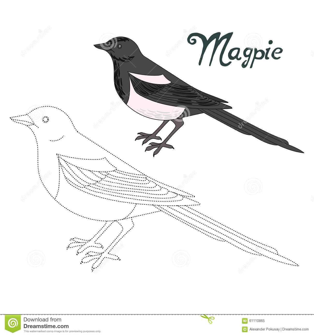 Educational Game Connect Dots To Draw Magpie Bird Stock