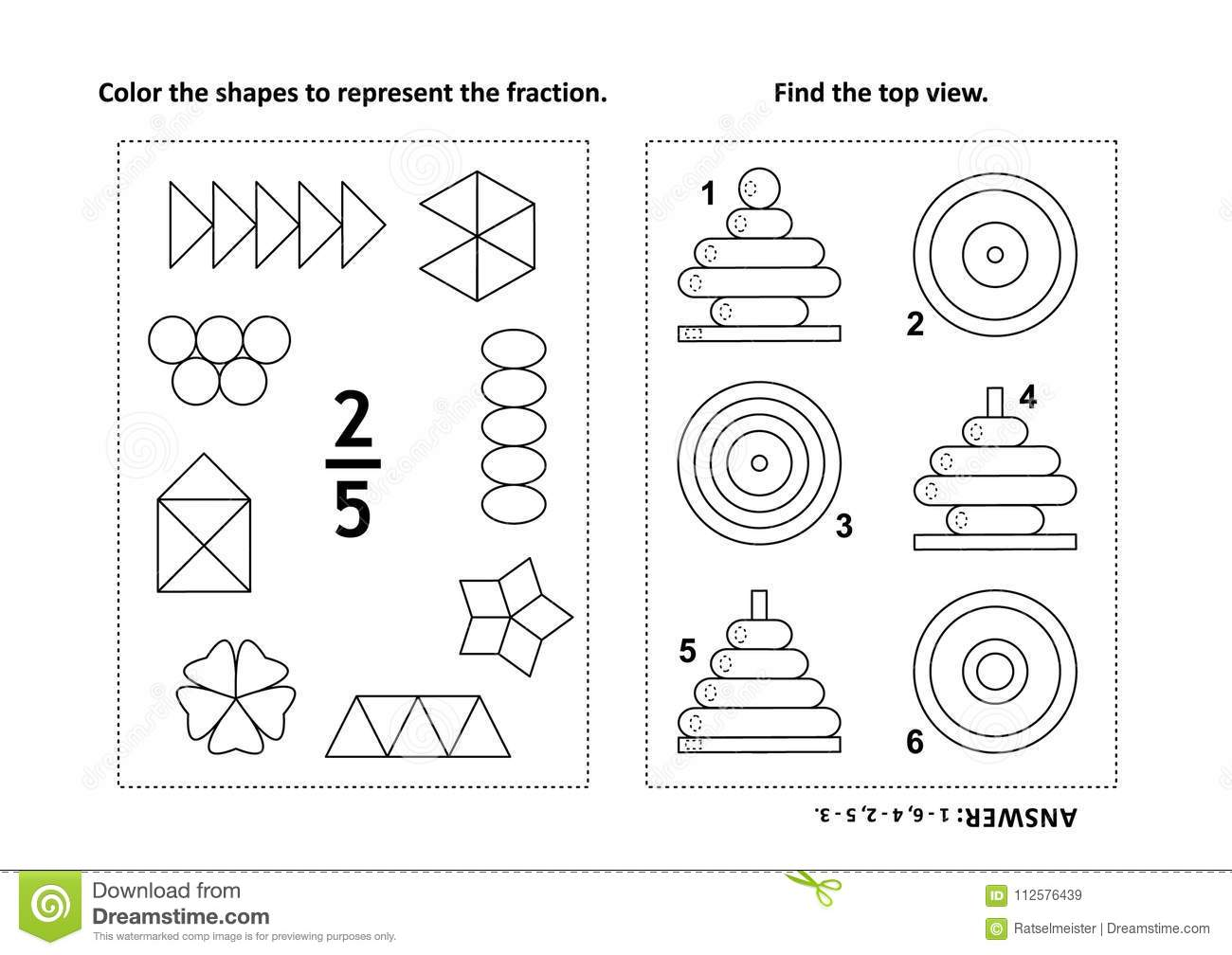 Educational Math Activity Page With Two Puzzles And Coloring