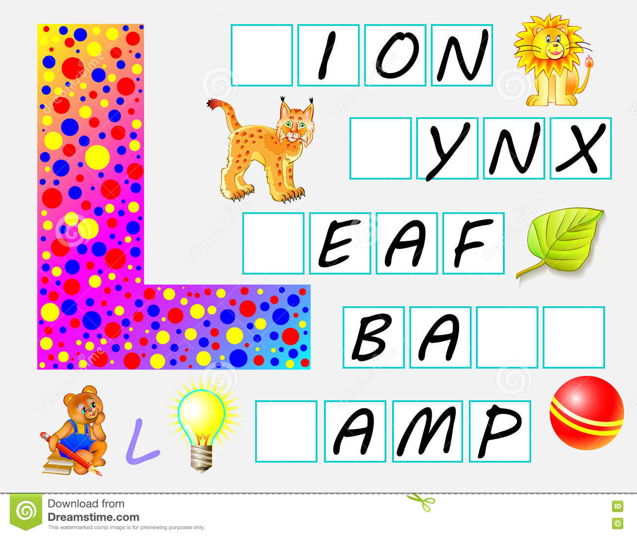 Educational Page For Children With Letter L For Study