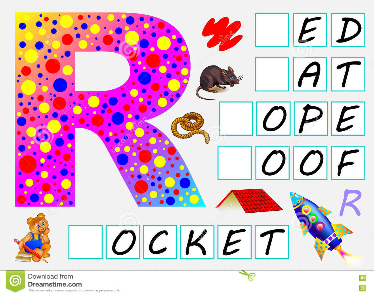 Educational Page For Children With Letter R For Study