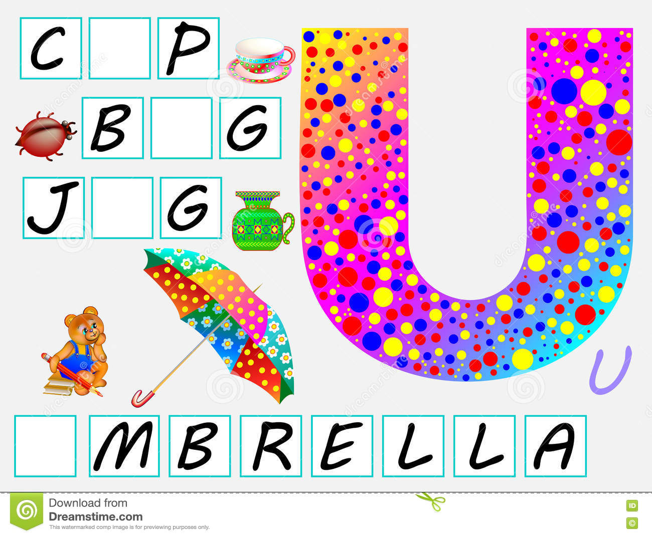 Educational Page For Children With Letter U For Study