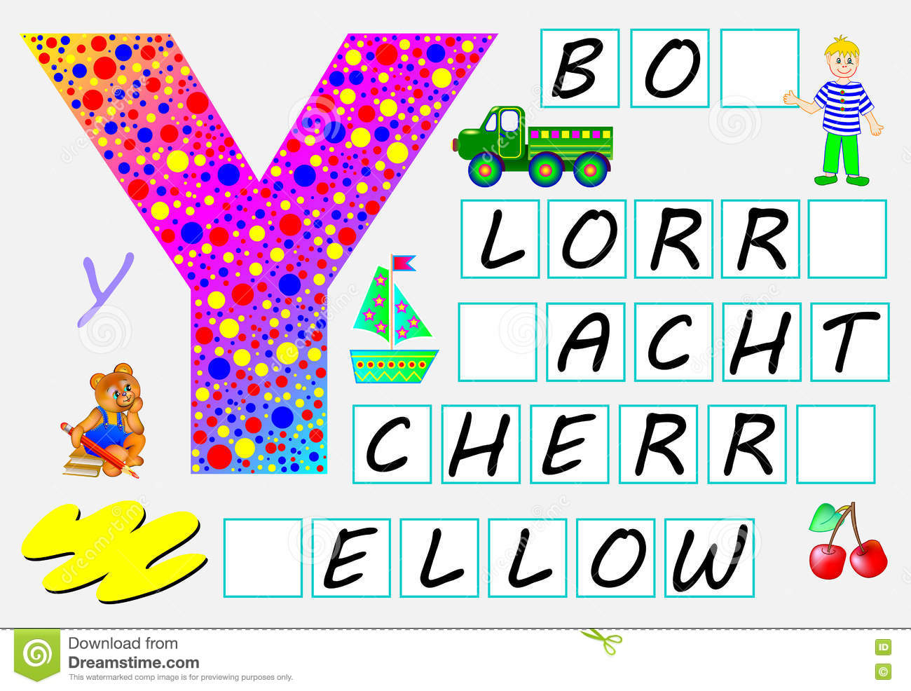 Educational Page For Children With Letter Y For Study