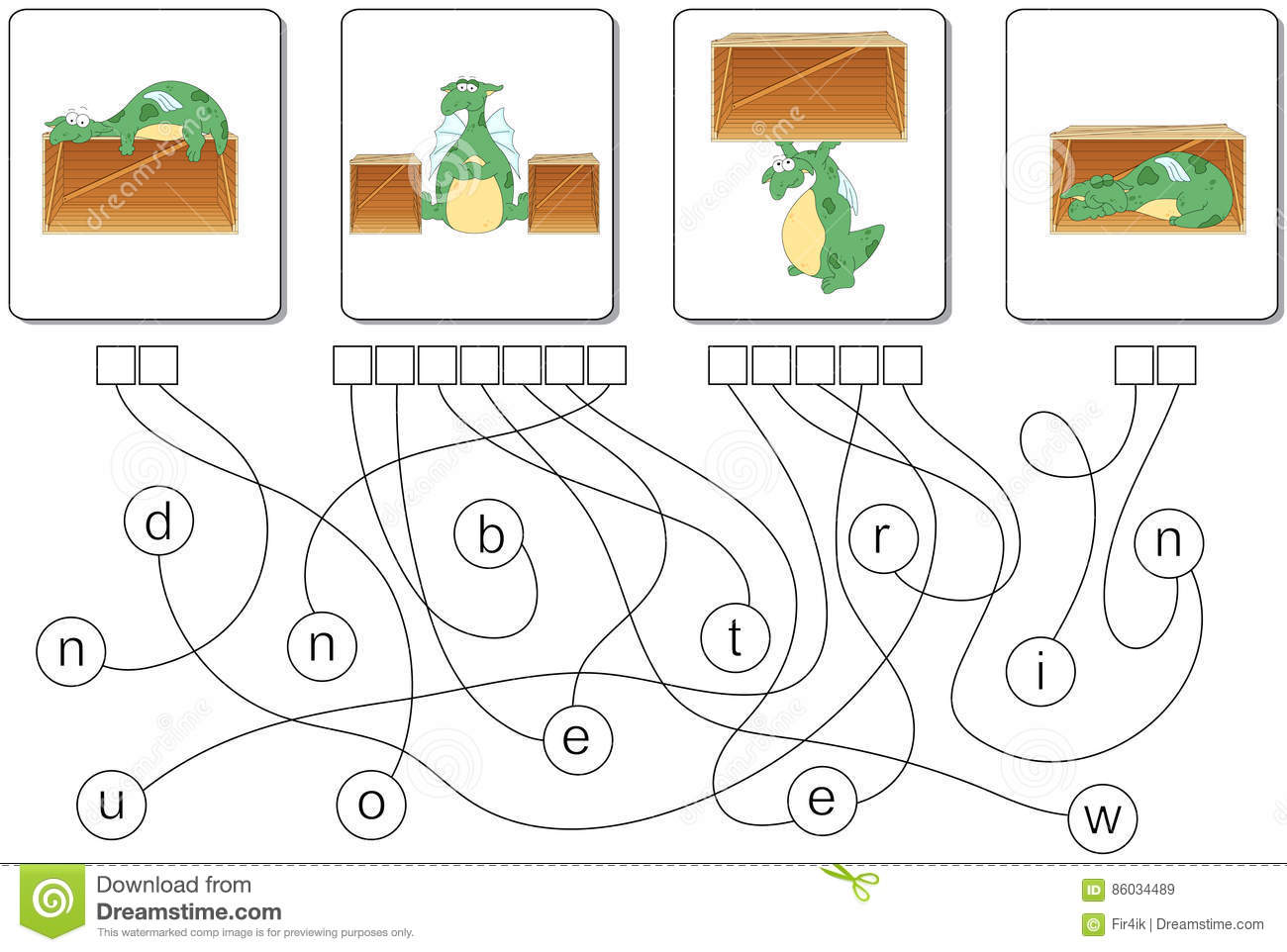Educational Puzzle Game With Dragon Find The Hidden Words