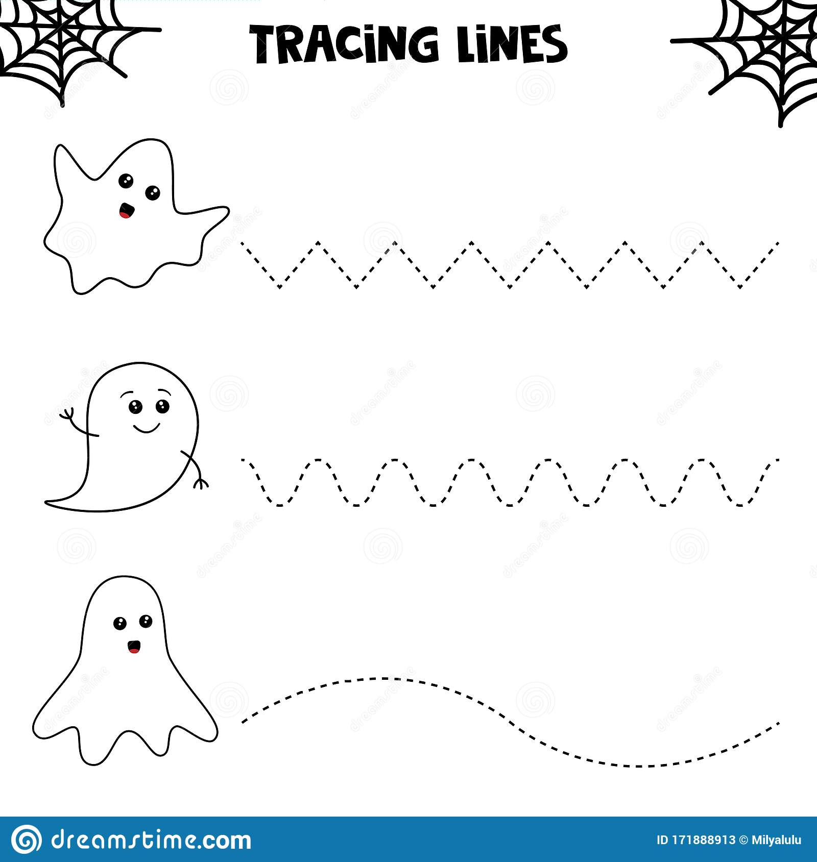 Educational Worksheet For Kids Halloween Games Tracing