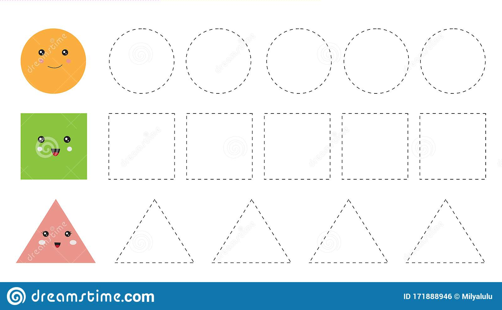 Educational Worksheet For Kids Trace The Shapes Circle