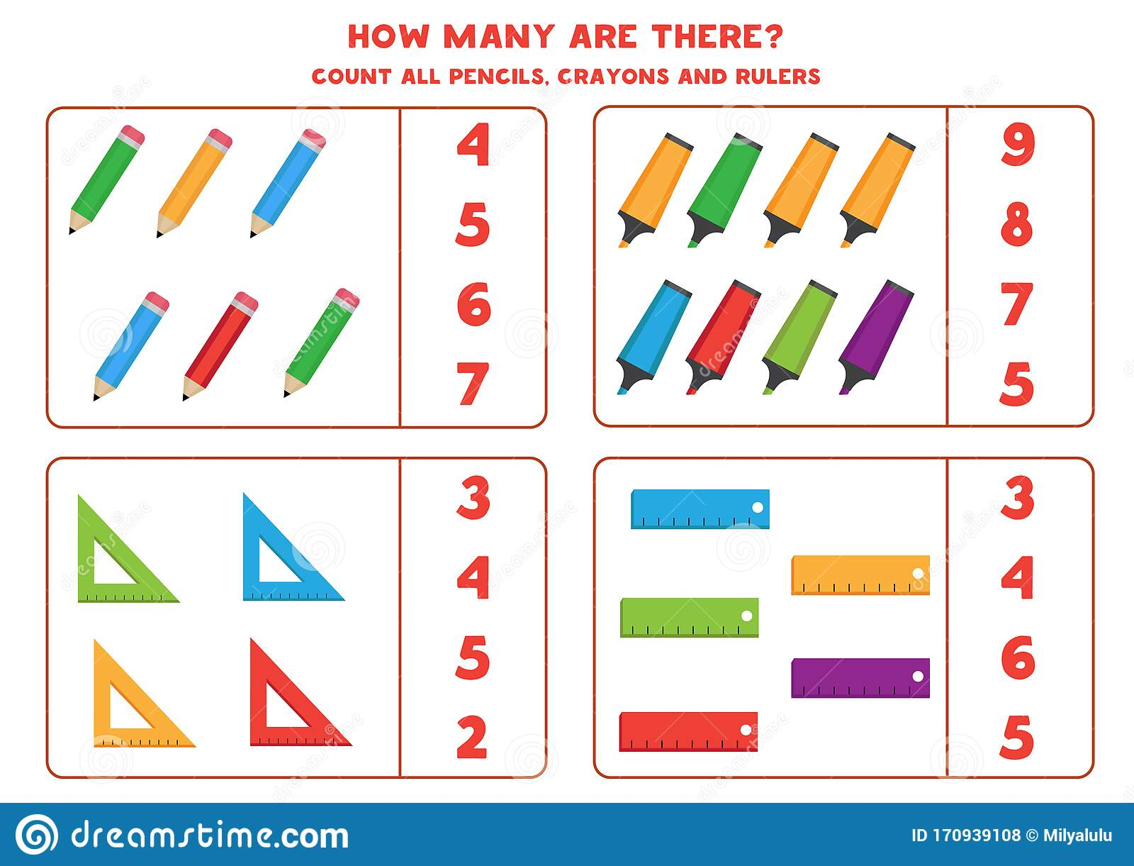 Educational Worksheet For Preschool Kids Counting Game