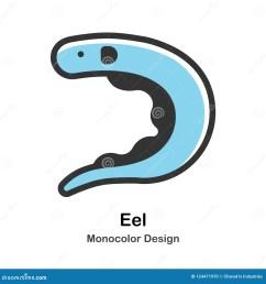 eel monocolor illustration [ 1300 x 1390 Pixel ]