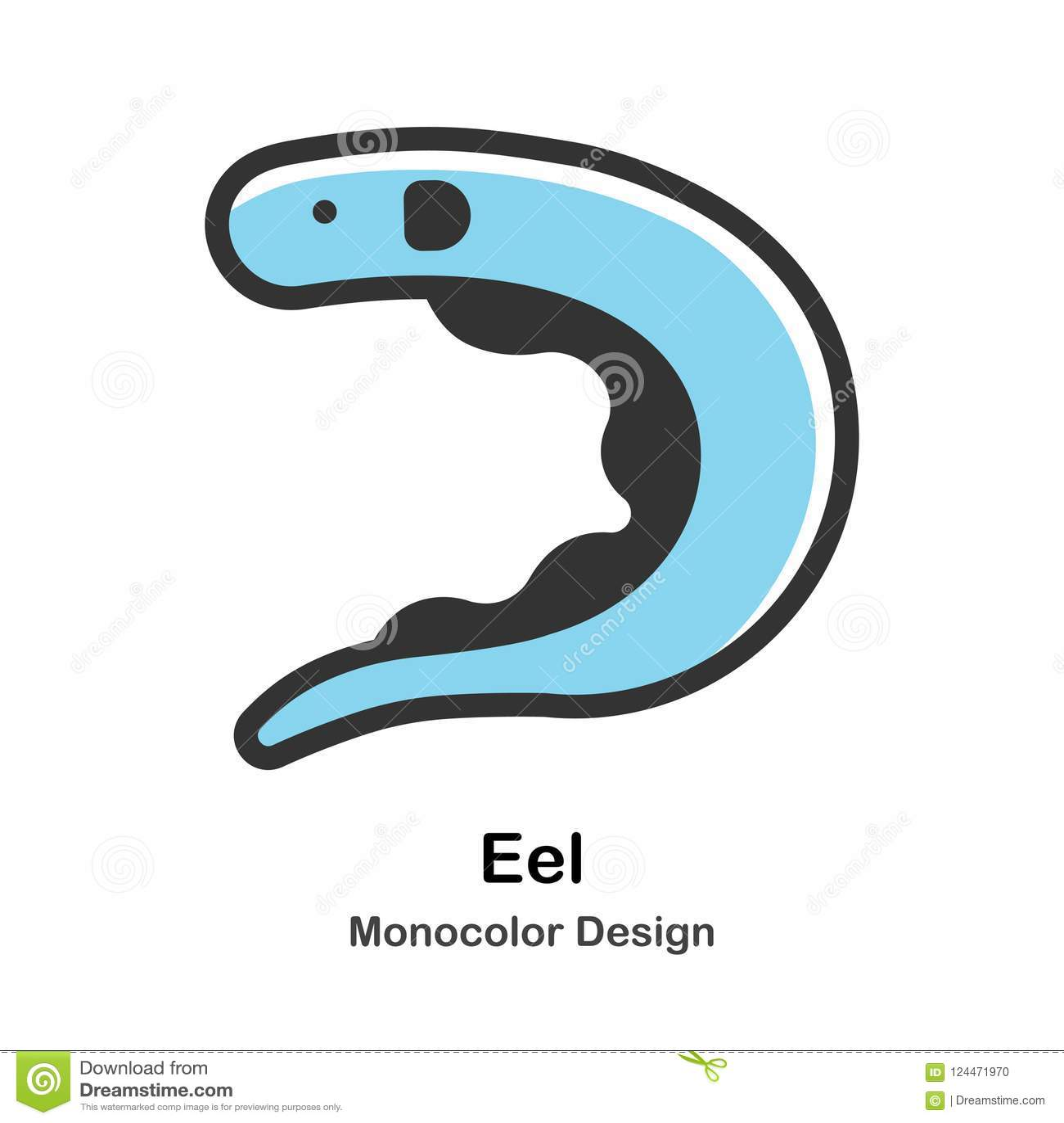 hight resolution of eel monocolor illustration