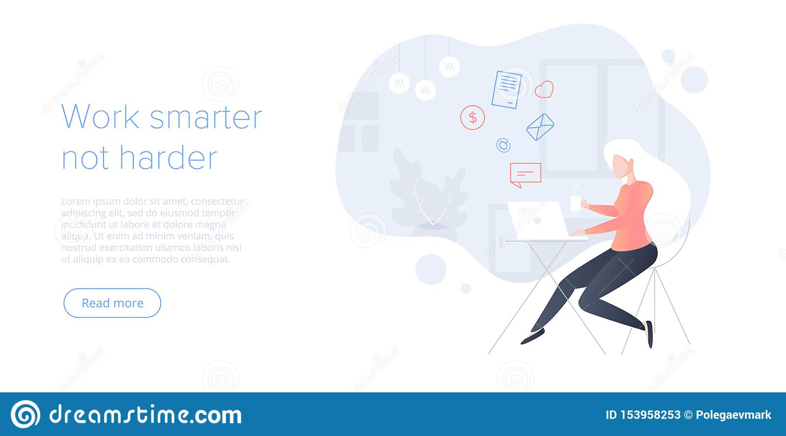 Effective Time Management Flat Vector Illustration Young