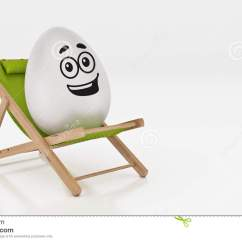 Lay Down Beach Chairs Fisher Price Chair Toy Egg With On Summer White Abstract Background For Easter Holiday