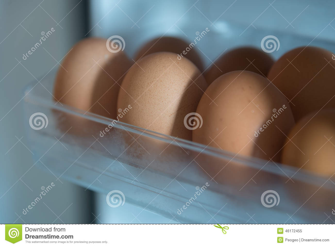 Eggs In Refrigerator For With Cool Temperature Stock Image ...