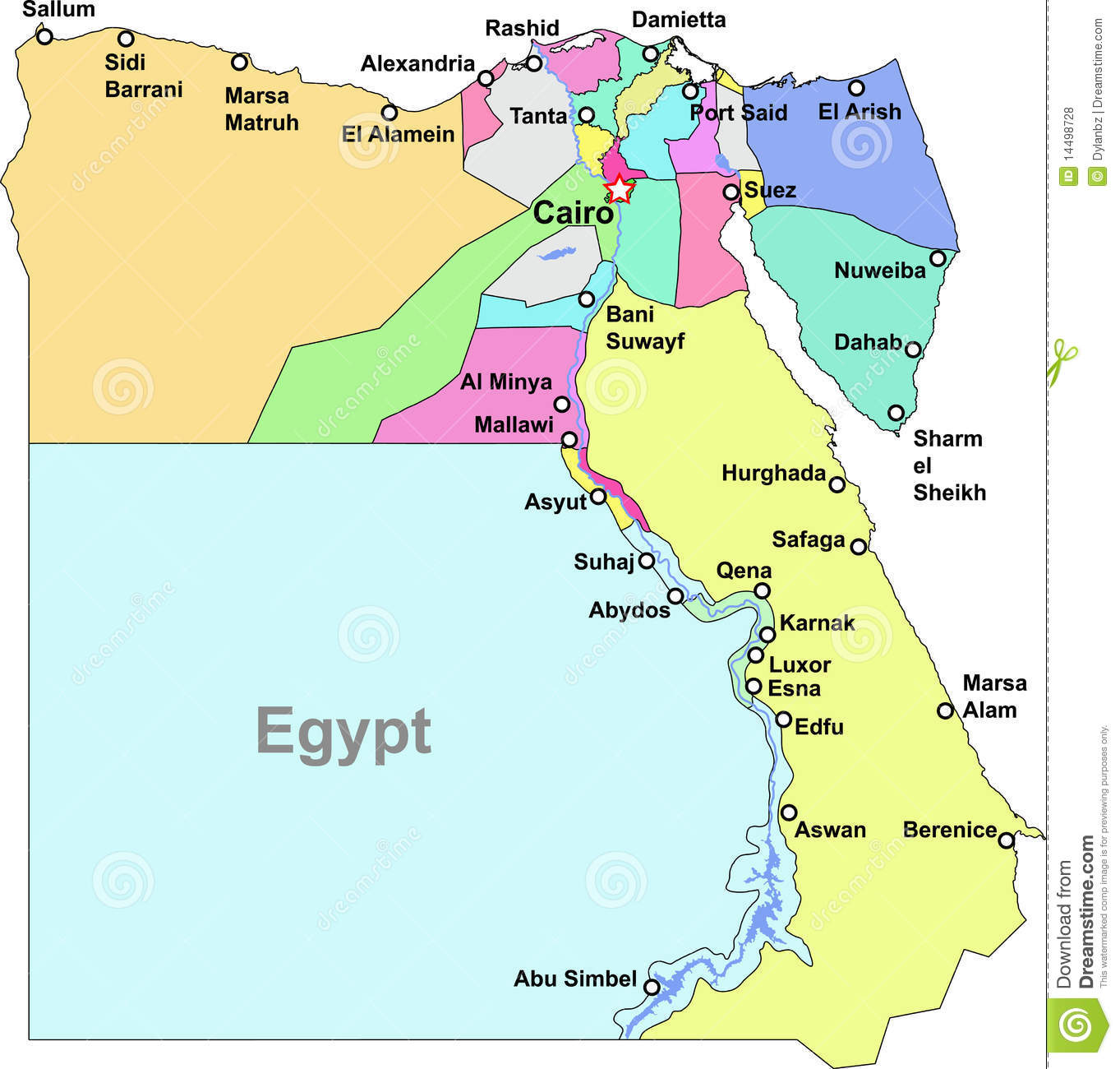 Egypt Map Royalty Free Stock Photos